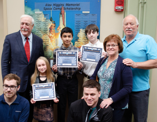 2019 Alex Higgins Memorial Space Camp Award Winners with Sean O'Keefe and Alex Higgins' Family